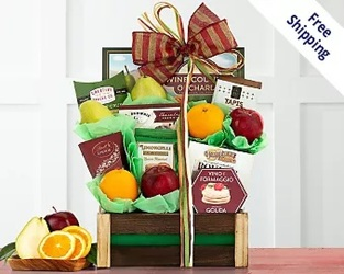 Fruit & Favorites<br>Gift Basket<br><b>FREE 2 DAY DELIVERY from Flowers All Over.com
