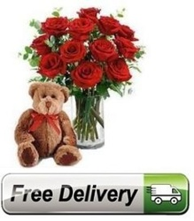Red Roses<br> Bear & Vase<br><B>FREE NEXT DAY DELIVERY from Flowers All Over.com