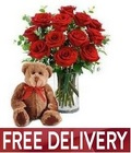 Red Roses<br> Bear & Vase<br><B>FREE NEXT DAY DELIVERY