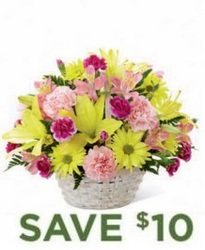 Basket Of Cheer Bouquet<br><b>Same Day Delivery from Flowers All Over.com