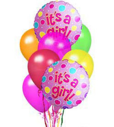 <b>It's A Girl</b><br> Balloon Bouquet<b> from Flowers All Over.com