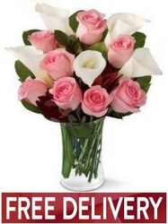 Pink Roses & Calla Lilies<br><b>Free Next Day Delivery</b> from Flowers All Over.com