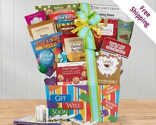 Get Well Soon Gift Basket<br><b>FREE 2 DAY DELIVERY! from Flowers All Over.com
