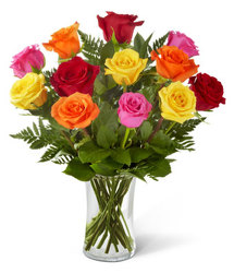 Mixed Roses<br>FREE Vase<br><b>Lowest Price! from Flowers All Over.com
