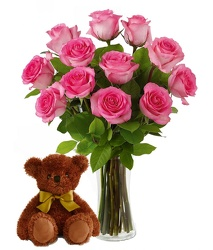 Pink Roses<br> Bear & Vase<br><B>FREE NEXT DAY DELIVERY from Flowers All Over.com