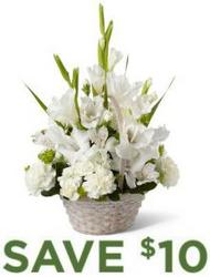 White Tribute Basket<b> from Flowers All Over.com