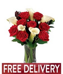 Red Roses & Calla Lilies<BR><B>FREE NEXT DAY DELIVERY from Flowers All Over.com