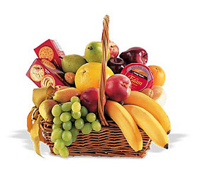 Fresh Fruit Basket<br> With Cheese & Crackers<b> from Flowers All Over.com