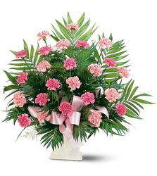 Pink Carnation Sympathy Basket<br><b>FREE DELIVERY from Flowers All Over.com